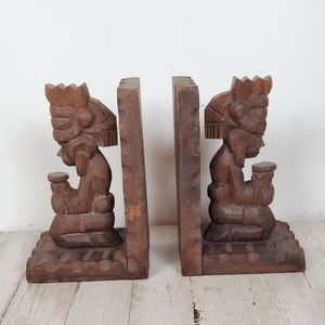 Vintage Aztec Mayan Hand Carved Wooden Bookends